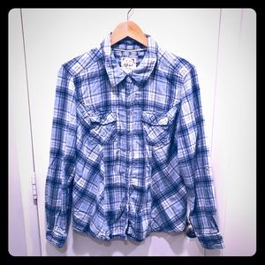 Style & Co. blue plaid shirt